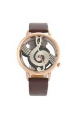 M388 Women's Ladies Hollow Musical Note Style Dial PU Band Quartz Wrist Watch Brown