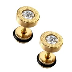 MagiDeal Men's 8mm Stainless Steel Faux Illusion Greek Stud Earrings Gold