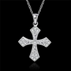 MAK 18 Inches 925 Sterling Silver Pendants Necklace Fashion Jewellery Charm Crystal Celtic Cross Neck Link Chain For Bridesmaid Gifts