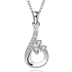 MAK 18 Inches 925 Sterling Silver Pendants Necklace Fashion Jewellery Charm Number 6 with Crystal Neck Link Chain For Bridesmaid Gifts