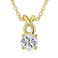 MAK 18K Gold Plated Pendants Necklaces Cute Wish Bone with Crystal Ball Gold Neck Chain Fashion Jewellery For Girlfriend Anniversary Gifts