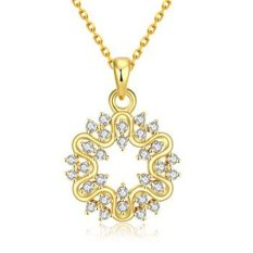 MAK 18K Gold Plated Pendants Necklaces Trendy Flower Wreath Ring Crystal Gold Chain Fashion Accessories For Best Friendship Girlfriend