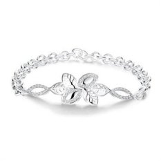 MAK 925 Sterling Silver Bangle Wholesale Bracelet Cute Leaf Tree Link Chain Fashion Accessories For Women Friendship Gifts