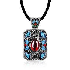 MAK Jade Pendant Rope Necklaces Bohemian Brass Geometric Black Rectangle Neck Chain National Style Fine Jewellery Unisex