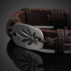 Maple Pendant Unisex Braid Bracelet Girl Boy String Band Bangle Brown (Intl)