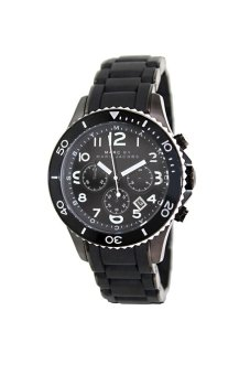Marc by Marc Jacobs MBM2583 Men' Rock Chrono Black Dial Silicone Covered Black Plated Bracelet
