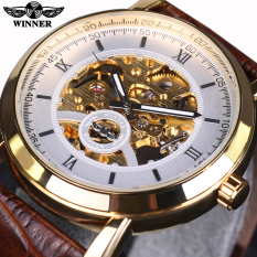 Mechanical Automatic Watch Winner Golden Bezel White Dial Brown Leather Designer Mens Watches Top Brand Luxury Watch