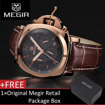 Megir 3006G Jam Tangan Pria Chronograph Quartz Wrist Watch With Alloy Case And Brown kulit asli jam tangan