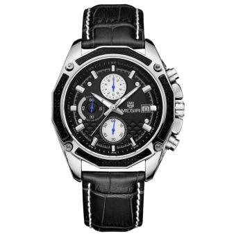 MEGIR asli Kulit Strap Jam tangan Keren pria kuarsa perhiasan sejalan dengan kalender dan sub dial