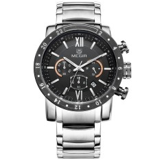 Megir Brand Men Full Steel Watch Army Militray Chronograph Watch (Silver) (Intl)