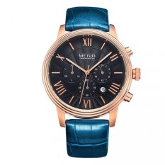 MEGIR Brand Men Genuine Leather Watch Analog Display Military Watches Date Chronograph Sport Watch