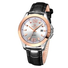 MEGIR Brand Watch With Timing Calendar Multi-functional High-end Men's Business Watch-Leather Silver White (Intl)