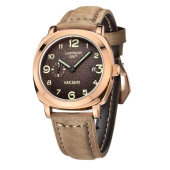 MEGIR fashion military leather quartz watch men casual business waterproof luminous analog wristwatch (brown)
