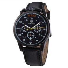 MEGIR Genuine Six Eye Three Pin Three Genuine Leather Men's Casual Watch-Black Black Black (Intl)