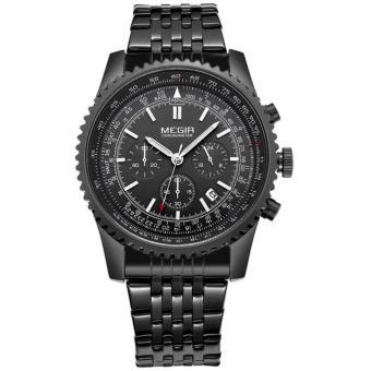 MEGIR Jam Tangan Pria Fashion Quartz Wristwatch Luxurious Business Waterproof MS 2008 G/BK-1 - Black Black