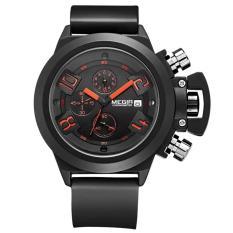 megir jam tangan pria quartz water resistance silicone band mn 2002 g bk 1 black