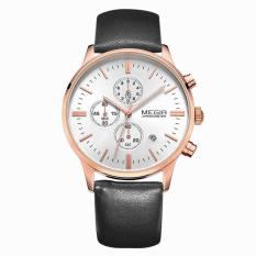 Megir Luminous Hands Multi-function Chronograph Real Three Black Dials Men Watch (Rose Gold&White) (Intl)