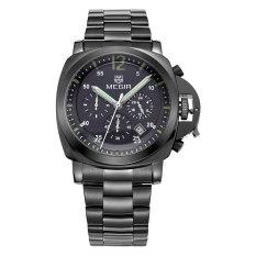 Megir Men Casual Watch Black Stainess Steel Band Luxury Men Watches Quartz Wristwatch Chronograph 24 Hours Function Sport Watch (Black&Black) (Intl)