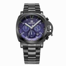 Megir Men Casual Watch Black Stainess Steel Band Luxury Men Watches Quartz Wristwatch Chronograph 24 Hours Function Sport Watch (Black&Blue) (Intl)