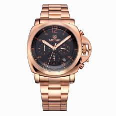 Megir Men Casual Watch Black Stainess Steel Band Luxury Men Watches Quartz Wristwatch Chronograph 24 Hours Function Sport Watch (Gold&Black) (Intl)