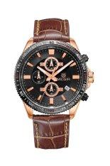 Megir Men's Leather Waterproof Business Calendar Fluorescence Watch (Coffee Gold Black)
