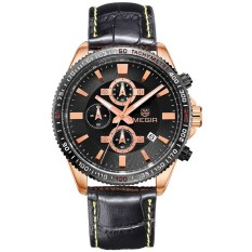MEGIR Men's Watches Genuine Leather Chronograph 24 Hours Quartz Watch (Black) (Intl)
