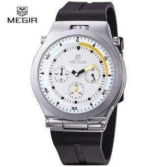 MEGIR Original Sports Chronograph Rubber Strap Men Watches Creative Quartz Watch Luminous Wristwatches - intl