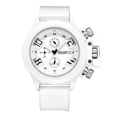 MEGIR Water Resistant Male Quartz Watch Date Function With Silicone Band Working Sub-dials (White)