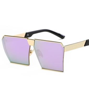 Men &Woman Sunglasses Square Sunglasses Bright Color Retro Big Frame - Gold Box Hyun Purple Tablets