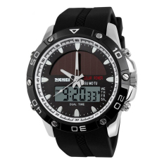 Men Digital Sports LED Watches Male Dual Time Sports Digital Military Watches (Sliver) (Intl)