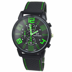 Men Fashion Motion Racing Form Sport Quartz Hour Wrist Analog Watch Green