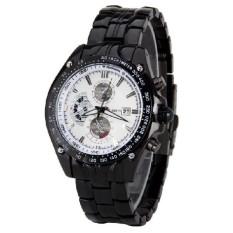 Men Luxury Fashion Business Three Eyes Quartz Watch Men Sport Stainless Steel Watches Leather Strap Wrist Watch Black&white (Intl)