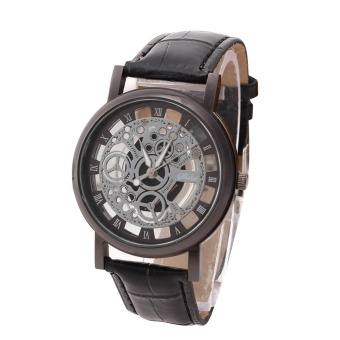 Men Luxury Stainless Steel Quartz Military Sport Leather Band Dial Wrist Watch - intl