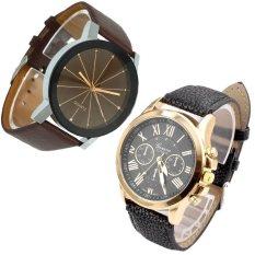 Men Quartz Dial Clock Leather Wrist Watch Round Case Coffee And Women's Fashion Roman Numerals Faux Leather Analog Quartz Wrist Watch Black Free Shipping