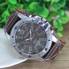 Men Watch Quartz Steel Dial Analog Sport Luxury Leather Band Watch Brown