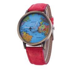 Men Women Watch World Map Design Analog Quartz Watch Red Free Shipping