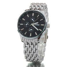 Men's Business Fashion Black Big Dial Silver Color Stainless Steel Band Wrist Watch