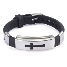 Men's Fashion Black Silver Cross Stainless Steel Rubber Bracelet Band Bangle New - Intl