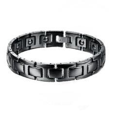Men's Jewelry Black Ceramic Magnetic Bracelet - Gelang Pria - Gelang Kesehatan - 18,5cm - S