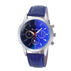 Mens Luxury Fashion Crocodile Faux Leather Analog Watch Watches Blue (Intl)