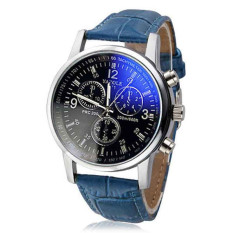 Mens Luxury Fashion Faux Leather Blue Ray Glass Quartz Analog Watches Blue