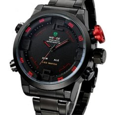 Men's Multi-Function LED Display Quartz Watch 12-Month Guarantee Sport Watches Military Full Stainless Steel Wrist Watches (Red & Black & White) (Intl)