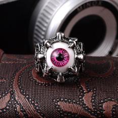 Men's Ring Evil Eye Skull Stainless Steel Ring Fine Jewelry Gift Red - intl