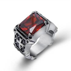 Men's Ruby Ring Finger Ring Gothic Cross Domineering Ring(Red) - intl