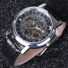 Men's Skeleton Mechanical Hand Wind Leather Masculino Transparent Wristwatch