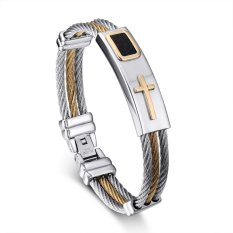 Mens Stainless Steel Cross ID Bracelet Bangle Two Tone Cable Rope Twist Chain, Gold And Silver (Intl)