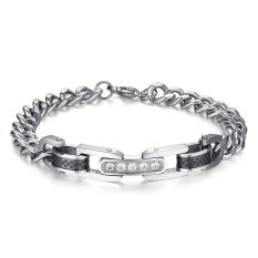 Mens Stainless Steel Cubic Zirconia Couple Bracelet Link Chain Valentine Lover Promise Engagement - Intl