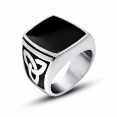 Mens Stainless Steel Ring Celtic Knot Signet Black Silver - intl