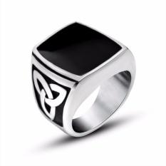 Mens Stainless Steel Ring Celtic Knot Signet Black Silver - intl