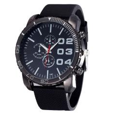 Mens Stylish Luxury Huge Big Dial Silicone Band Quartz Wrist Watch Sports Watch Black